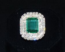 CERTIFIED NATURAL 9.5CT VS F DIAMOND EMERALD 18K SOLID GOLD COCKTAIL DINNER RING