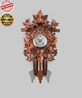 Vintage Wood Cuckoo Clock Wall Room Decor Cartoon Forest House Swing Clock