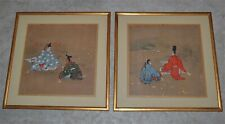 Antique Japanese After Tosa School Paintings Pair Court Life Gold Flecks Framed