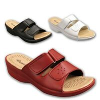 Ladies Womens Mule Sandals Casual Summer Comfort Wedge Heel Touch Strap Sizes UK