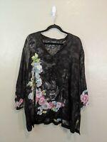 Citron Santa Monica Womens Plus Size 2X Black Silk Rayon Sheer Asian Blouse