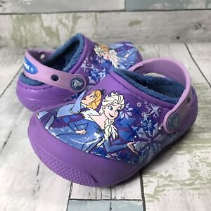 Crocs Disney Frozen Elsa Anna Kids Size 7C Purple Slip On Slide Clog Sandals