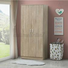 160cm Wooden 2 Door Double Wardrobe with Hanging Rail Storage Bedroom Furnitur