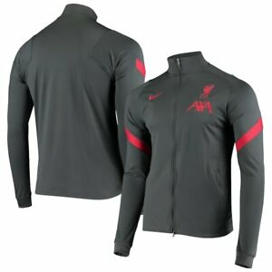 Nike Liverpool FC Strike Knit Full-Zip Track Jacket Gray Red Mens Size Small NEW