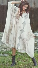 SACRED THREADS beige rayon lounge TUNIC CAFTAN TOP DRESS One size fits up to 3X