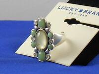 Lucky Brand Worn Silver Cat's Eye Aqua Jade  Ring 7 JWEL1139