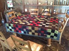 Vintage Knotted Woolen Nine Patch Quilt...