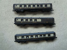 More details for n gauge model railway brown and cream pullman carriages x 3 vgc
