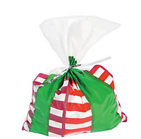 Pack of 12 - Christmas Present Cellophane Bags - Gifts Treats Stocking Filler