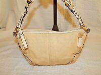 Coach Handbag Purse 4710 Hobo Angora Straw Jute Bone Leather Bag Authentic EUC