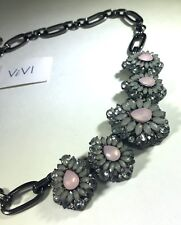 Vivi Cookie Lee Necklace Pink White Clear Fashion Stones Chunky Gunmetal 14 Inch