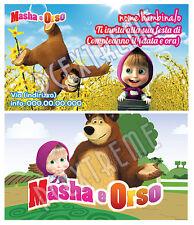 Biglietti - Inviti Compleanno personalizzati MASHA E ORSO - 30 Pz