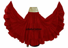 Red Cotton Gypsy Skirt 25 Yard 4 Tiered Tribal Belly Dance Flamenco Jupe New