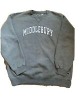 Vintage Russell Pro Cotton Middlebury College Gray Mens XXL Pullover Sweater