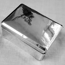 Japanese SILVER rectangular box lined in wood by Okubo Brothers of Japan