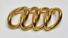 Woven Rings Shape Pin Brooch Signed Monet Goldtone Textured 4