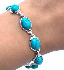 Genuine Designer Turquoise Sterling Silver 925 Ladies Bracelet Bangle Gemstone