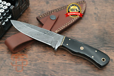 Damascus Steel Skinner knife Hand forged knives Leather and Bull Horn handle