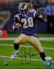 Marshall Faulk Autographed St Louis Rams 8x10 On Field PF Photo- JSA W Auth