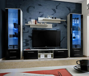 Telia 4 - black high gloss fronts and white wall unit