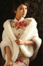 New Elfenbein Weiß Pelz Jacken Verpackungs Bolero Schal Cape Braut Hochzeit HOT