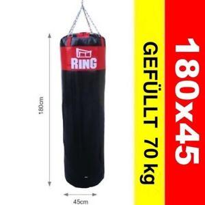 Profi Boxsack  Gefüllt 70 kg 180x45 cm Schwarz-Rot  Model: RW-180
