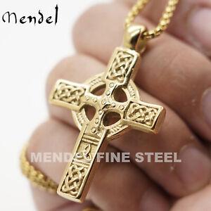 MENDEL 10K Gold Plated Irish Celtic Cross Pendant Necklace For Men Women Chain