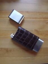 Stainless Steel 2 Finger Cigar Case W/ Flask Wrapped Crocodile Patterned Leather