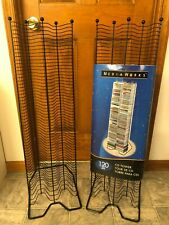 Two Fellowes Media Works 120 Cd Black Metal Wire Tower Stands