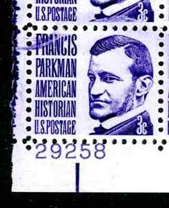 EFO 1281 VIOLET INK SMEAR ON THIS 3c PARKMAN PLATE BLOCK OF FOUR