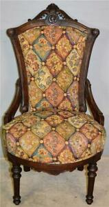 21004 Victorian Burl Walnut Ladies Chair with Carved Head