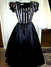 Civil War/Victorian Era Black Satin Ballgown with Striped Bodice,size 16