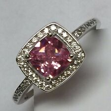 Gorgeous Princess cut 2ct Pink Sapphire 925 Solid Sterling Silver Ring sz 7