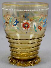Antique Moser Art Nouveau Floral Enamel Hand Blown Amber Crystal Tumbler