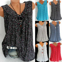 Womens Summer Loose Sleeveless Vest T-Shirt Blouse Lady Boho Lace Plus Size Tops