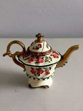 Nini Canterbury Teapot Trinket Box Gold Red Flowers