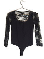 New Bebe Womens Scoop Neck Seamless Lace 3/4 Sleeve Bodysuit Black Xs-L $49