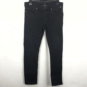 RIVER ISLAND Black Skinny Stretch Jeans W36 L32 Men's Button Fly Pant