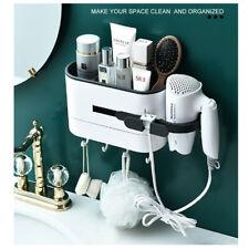 Hair Dryer Holder Set Bathroom Wall Mounted Toothbrush Comb Storage White Rack