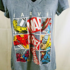 Youth XXL Marvel Comics Tee Shirt Super Hero Gray V Neck