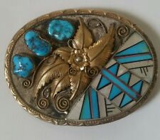 Native American E. King Sterling Turquoise Nugget Pearl Inlaid Belt Buckle -RARE