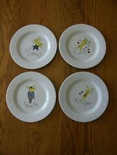 Set 4:Pottery Barn Reindeer Melamine Christmas Salad Plates-CCDB-Appetizer-New