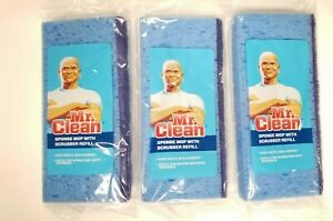 Mr. Clean Sponge Mop With Scrubber Refill Lot of 3 Blue Replacement New Sealed