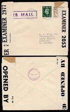 GB ww2 1941 a N. IRLANDA CENSORI + in Scatola POSTA AEREA handstamp 5 1/2 D.... R.A King
