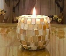 Scented Mosaic Soy Candles! White Seashell Pearl Mosaic Candle..Coconut & Lime s