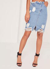Fashion Womens Summer Busted Hem Denim Midi Jeans Skirt Size UK 8