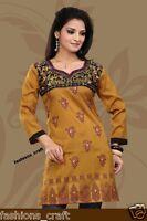 Indian Designer Printed Yellow-Mustard  Crepe Silk Kurtis Tunic Top Kaftan Women