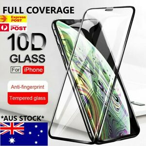 Tempered Glass 10D FULL COVER Screen Protector iPhone 12 11 Pro X Max XS XR SE 8