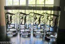 "(8) VTG DOROTHY THORPE SILVER MONOGRAM INITIAL ""F""~COOLER~HIGHBALL~GLASSWARE~EXC"