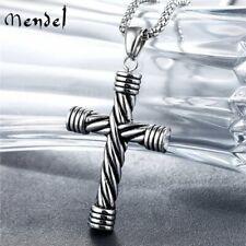 MENDEL Mens Womens Gothic Stainless Steel Cross Pendant Necklace For Men Women